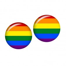 2 Cabochons en Verre Illustrés LGBT Arc-en-Ciel 12mm