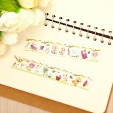 Rouleau de Masking Tape Alice au pays des Merveilles Scrapbooking Washi 15mmx5m