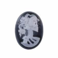 2 Camées Cabochon Lady Squelette Tête de Mort Gothique 18x25mm pour la Création de Bijoux fantaisie - DIY
