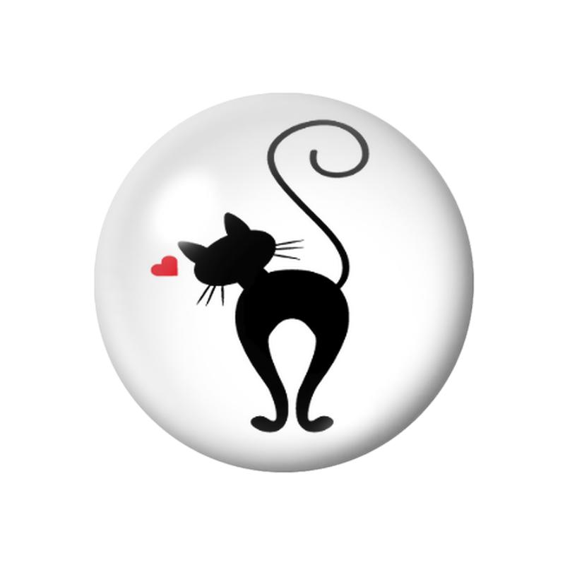 Cabochon en Verre Illustré Silhouette Chat 12 à 25mm