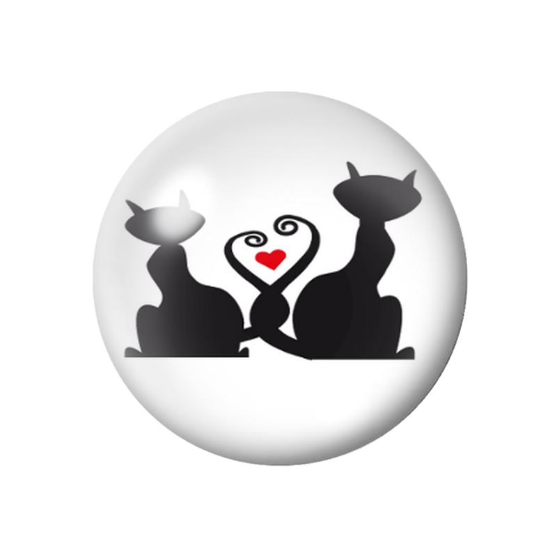 Cabochons en Verre Illustré Silhouette Chat 18, 20 ou 25mm
