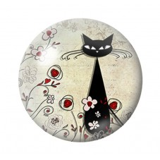 Cabochon en Verre Illustré Silhouette Chat 18, 20 ou 25mm