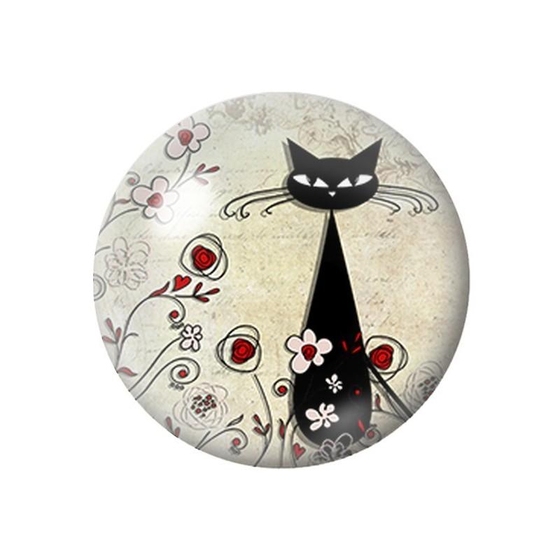 Cabochon en Verre Illustré Silhouette Chat 18, 20 ou 25mm