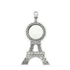 Support Pendentif Tour Eiffel Argenté pour Cabochon 20mm