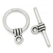 5 Fermoirs Toggle Argenté pour Bracelet 11x15mm