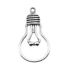 5 Breloques Ampoule Argentée 21x11mm pour la Création de Bijoux Fantaisie - DIY