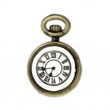 4 Breloques Horloge Montre Ancienne Bronze Thème Alice au Pays des Merveilles 17x11mm pour la Création de Bijoux Fantaisie - DIY