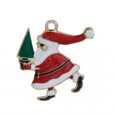 2 Breloques Père-Noël en Émail Métal Doré avec Strass 24x23mm pour la Création de Bijoux Fantaisie - DIY