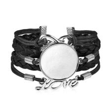 Support Bracelet Ajustable en Cuir Noir pour Cabochon 25mm