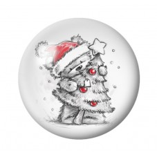 Cabochon en Verre Illustré Ourson Sapin Noël 12 à 25mm