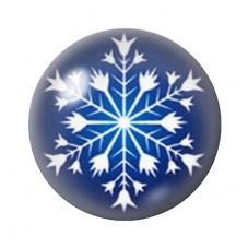Cabochon en Verre Illustré Flocon de Neige Noël 12 à 25mm