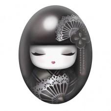 Cabochon en Verre Illustré Geisha Japon 13x18, 18x25 ou 30x40mm pour la Création de Bijoux Fantaisie - DIY