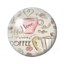 Cabochon en Verre Illustré Tasse de Café 12 à 25mm