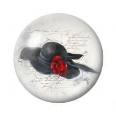 Cabochon en Verre Illustré Chapeau Vintage 12 à 25mm pour la Création de Bijoux Fantaisie - DIY