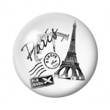 Cabochon en Verre Illustré Tour Eiffel Paris 12 à 25mm pour la Création de Bijoux Fantaisie - DIY