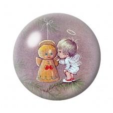 Cabochon en Verre Illustré Ange de Noël 12 à 25mm