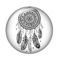 Cabochon en Verre Illustré Attrape-Rêves 20mm pour la Création de Bijoux Fantaisie - DIY