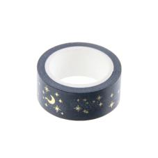 Rouleau de Masking Tape Étoile Lune Noir et Doré 15mmx5m