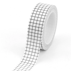 Rouleau de Masking Tape Blanc Quadrillé Noir 15mmx10m
