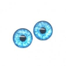 2 Cabochons en Verre Motif Oeil Bleu 10mm
