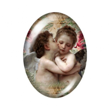 Cabochon en Verre Illustré Ange Enfant Vintage 18x25mm