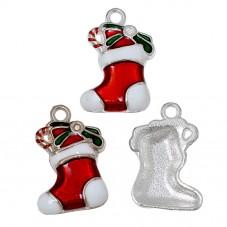2 Breloques Chaussette de Noël Argentée en Émail  24x15mm pour la Création de Bijoux Fantaisie - DIY