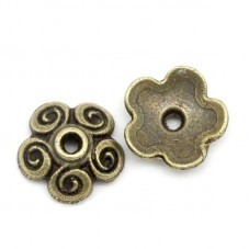 10 Coupelles Calottes Fleur Bronze 10mm pour Perles