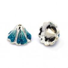 2 Coupelles Calottes Fleur Emaillé Bleu 15x10mm pour Perles