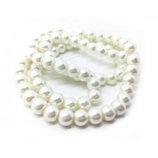 Chapelet d'environ 110 Perles en Verre Nacré Blanc 8mm