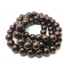 Chapelet d'environ 70 Perles en Verre Nacré Chocolat 12mm