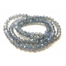 140 Perles à Facettes Bleu Gris en Verre 3x4mm