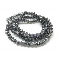 140 Perles en Verre à Facettes Noir Translucide 3x4mm