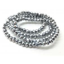 140 Perles en Verre à Facettes Argenté 3x4mm