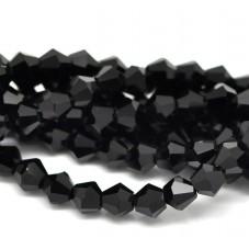100 Perles en Verre à Facettes Noir 6mm