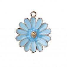 2 Breloques Fleur Émail Bleu Métal Doré 28x23mm pour la Création de Bijoux Fantaisie - DIY