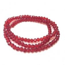 140 Perles en Verre à Facettes Rouge Profond 3x4mm