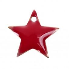 4 Breloques Étoile Rouge en Émail Métal Doré 12x11mm