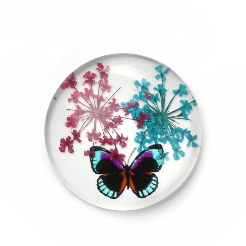 Cabochon en Verre Véritables Fleurs Séchées Papillon 30mm