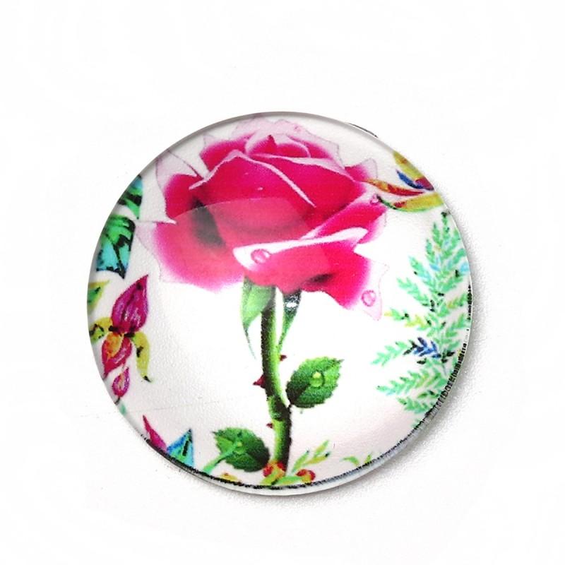 Cabochon en Verre Illustré Fleur Rose 30mm