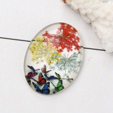 Cabochon en Verre Véritables Fleurs Séchées Papillons 30x40mm