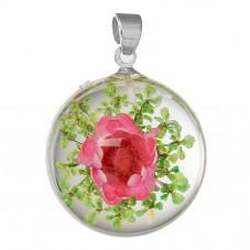 Pendentif en Verre Véritables Fleurs Séchées 27x19mm pour la Création de Bijoux Fantaisie - DIY