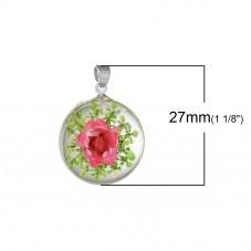 Pendentif en Verre Véritable Fleurs Séchées 27x19mm