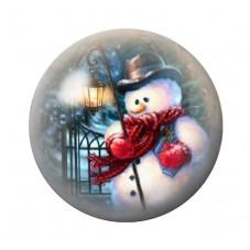 Cabochon en Verre Illustré Bonhomme de Neige Noël 18, 20 ou 25mm