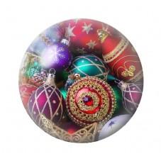 Cabochon en Verre Illustré Boule de Noël 18, 20 ou 25mm