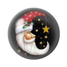 Cabochon en Verre Illustré Père-Noël Lune 18, 20 ou 25mm