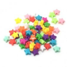 50 Perles Étoiles Colorées en Acrylique 6mm Création Enfant