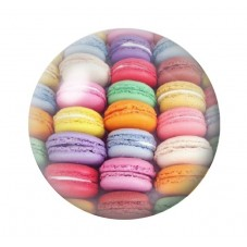 Cabochon en Verre Illustré Macarons Colorés 18, 20 ou 25mm
