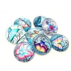 4 Cabochons en Verre Illustré Papillons 20mm
