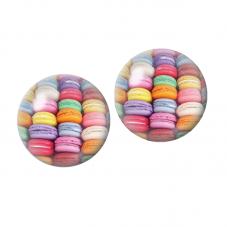 2 Cabochons en Verre Illustrés Macaron Biscuit Gâteau 12mm