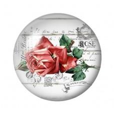 Cabochon en Verre Illustré Fleur Rose Rouge 12 à 25mm